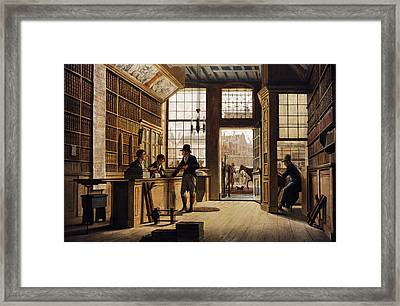 The Shop Of The Bookdealer Pieter Meijer Warnars On The Vijgendam In Amsterdam, 1820, By Johannes Framed Print by Bridgeman Images