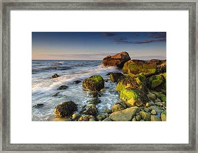 The Shore Of The Sound Framed Print by Rick Berk