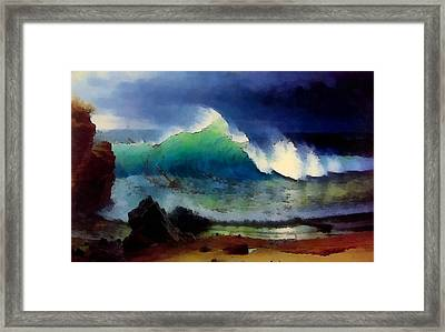 The Shore Of The Turquoise Sea Framed Print by Albert Bierstadt
