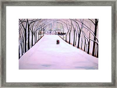The Silent Snowfall Walk  Framed Print by Rick Todaro