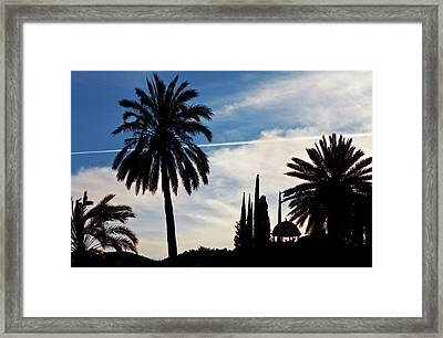 The Silhouetted Temple,botanical Garden Framed Print by Panoramic Images