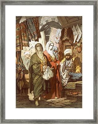The Silk Bazaar, 1865 Framed Print