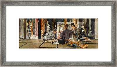 The Silk Merchant, Japan, 1892 Oil On Canvas Framed Print by Robert Frederick Blum