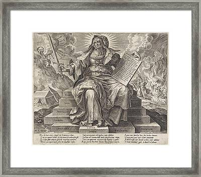 The Silver Age The Law Of The Old Testament Framed Print by Hieronymus Wierix And Jacob De Weert