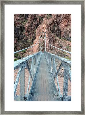 The Silver Bridge Spanning The Colorado River At The Bottom Of Grand Canyon National Park Framed Print