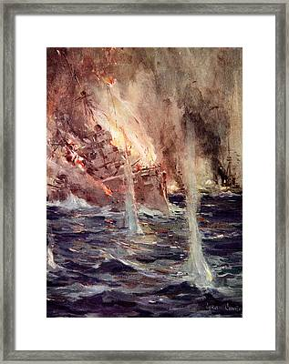 The Sinking Of The Gneisenau Framed Print by Cyrus Cuneo