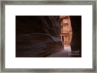 The Siq And Treasury At Petra Framed Print by Robert Preston