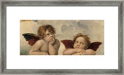 The Sistine Madonna. Detail Framed Print by Raphael