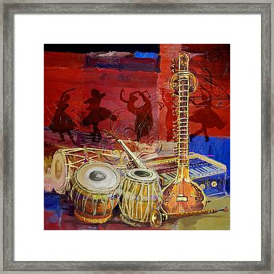 The Sitar Dhol Tabla And Harmonium Framed Print