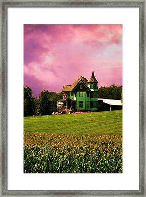 The Sky Over A Queen Anne Victorian  Framed Print by Chastity Hoff
