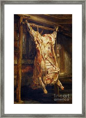 The Slaughtered Ox Framed Print by Rembrandt Harmenszoon van Rijn