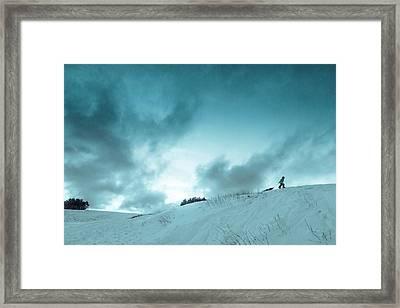 The Sledding Hill Framed Print by Mary Amerman