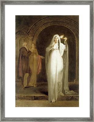 The Sleepwalking Scene, Act V, Scene I, From Macbeth, By William Shakespeare 1564-1616 Graphite, Wc Framed Print