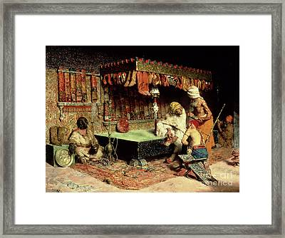 The Slipper Merchant Framed Print by Jose Villegas Cordero