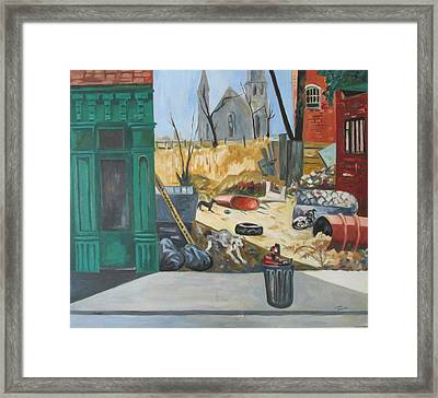 Framed Print featuring the painting The Slum Dogs by Linda Novick