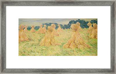 The Small Haystacks Framed Print by Claude Monet