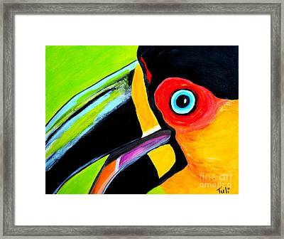 The Smiling Toucan Framed Print by Claudia Tuli