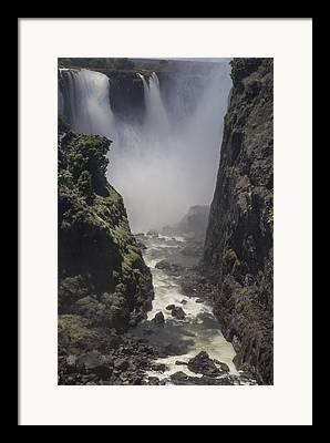 Zambia Waterfall Digital Art Framed Prints