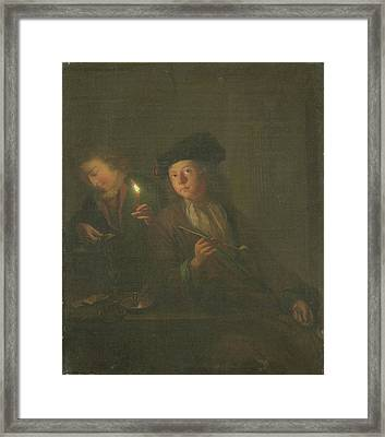 The Smoker A Man With A Pipe And A Man Pouring A Beverage Framed Print