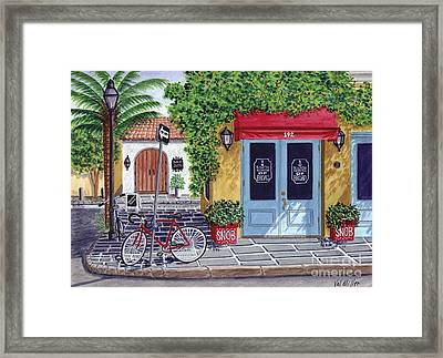 The Snob Restaurant Framed Print by Val Miller