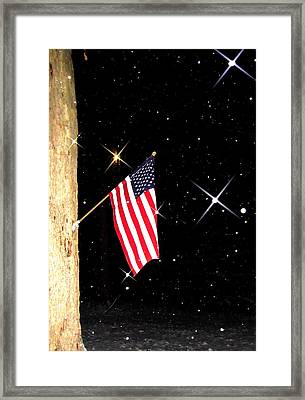 The Snow The Moon And The Flag Framed Print by Sharon Costa