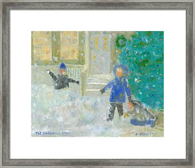 The Snowball Fight Framed Print by David Dossett