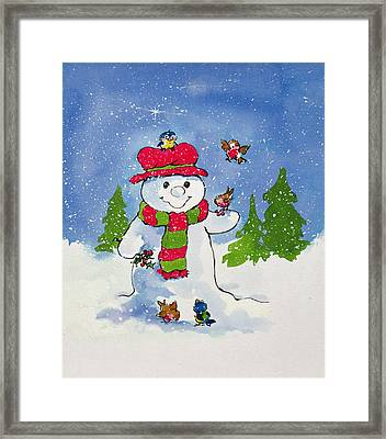 The Snowman Framed Print by Diane Matthes
