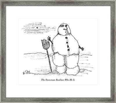 The Snowman Realizes Who He Is Framed Print by William Steig