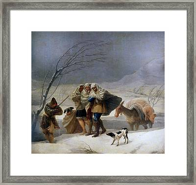 The Snowstorm - Winter Framed Print by Francisco Goya