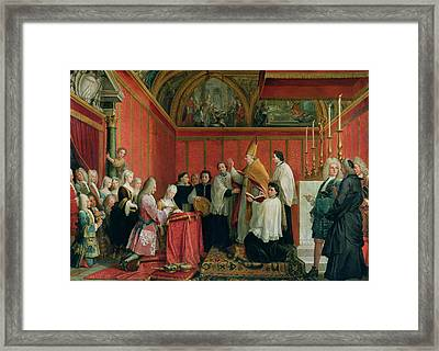 The Solemnization Of The Marriage Of Prince James Francis Edward Stuart 1688-1766 And Princess Framed Print by Agostino Masucci
