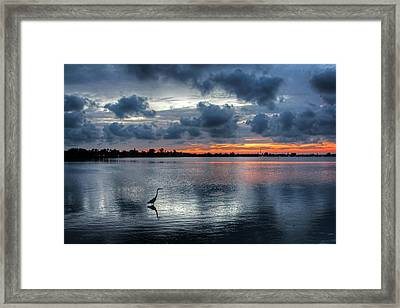 The Solitary Fisherman - Florida Sunset Framed Print by HH Photography of Florida