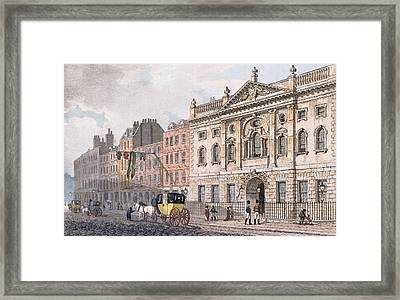 The South Front Of Ironmongers Hall, From R. Ackermanns Repository Of Arts 1811 Colour Litho Framed Print