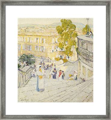 The Spanish Steps Of Rome Framed Print by Childe Hassam