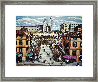 Framed Print featuring the painting The Spanish Steps by Rita Brown