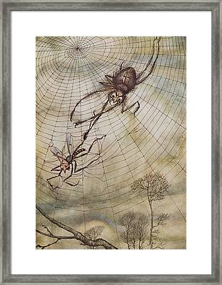 The Spider And The Fly Framed Print by Arthur Rackham
