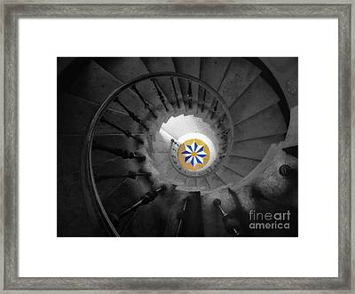 The Spiral Staircase Of Villa Vizcaya Bwcolor Framed Print by Mike Nellums
