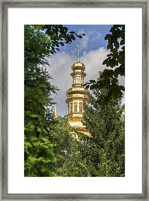 The Spire Through The Trees Framed Print