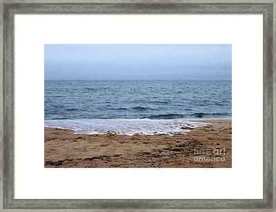 The Splash Over On A Sandy Beach Framed Print by Eunice Miller