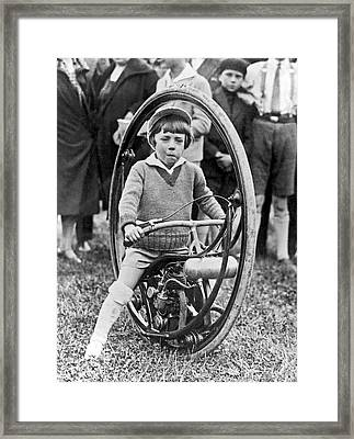 The Spokeless Wheel Motorcycle Framed Print by Underwood Archives