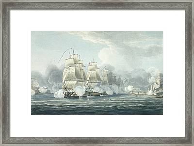 The Squadron Under Command Of Sir F.t Framed Print by Thomas Whitcombe