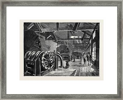 The St. Gothard Tunnel Air-compressing Machinery At Airolo Framed Print by English School
