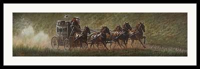 Stage Coach Digital Art Framed Prints