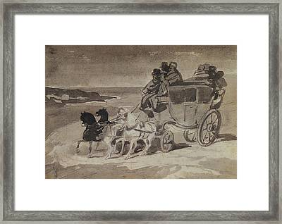 The Stagecoach Pencil & Wc On Paper Framed Print by Theodore Gericault