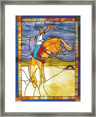 The Stained Glass Cowboy Riding Out The Bucks Framed Print by Patricia Keller