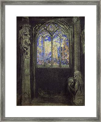 The Stained Glass Window, 1904 Charcoal & Pastel On Card Framed Print by Odilon Redon