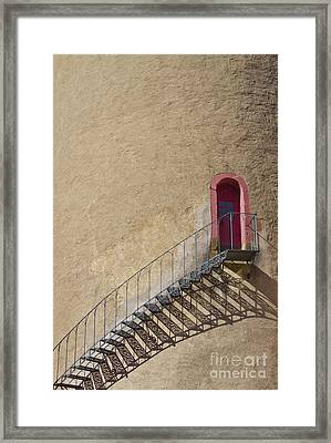 The Staircase To The Red Door Framed Print by Heiko Koehrer-Wagner