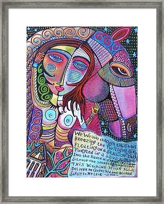 The Stallion And Ghost Goddess Framed Print by Sandra Silberzweig