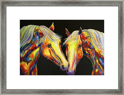 The Stallion Kiss Paint Horses Framed Print