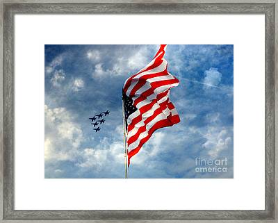 The Star Spangled Banner Yet Waves Framed Print by Lydia Holly