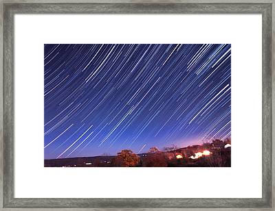 The Star Trail In Ithaca Framed Print by Paul Ge